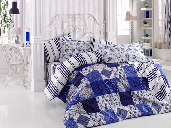 Комплект постельного белья Hobby CLARA поплин синий 1,5 спальный, фото, фотография
