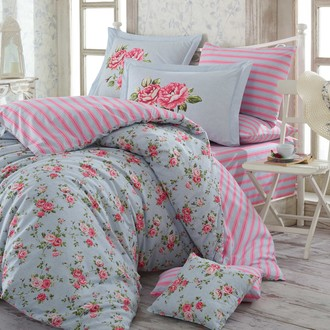 Комплект постельного белья Hobby FLORA поплин голубой