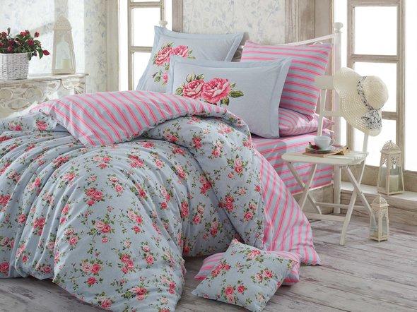 Комплект постельного белья Hobby FLORA поплин хлопок (голубой) семейный, фото, фотография