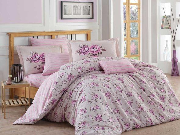 Комплект постельного белья Hobby FLORA поплин хлопок (лиловый) семейный, фото, фотография