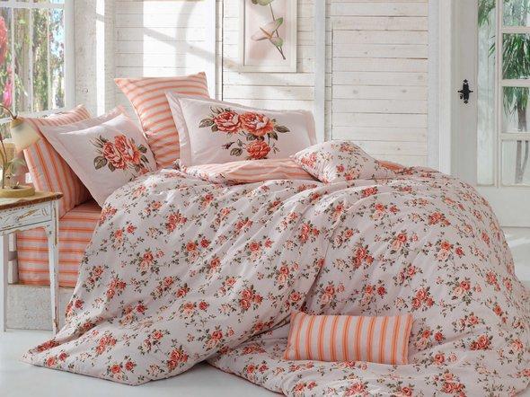 Постельное белье Hobby Home Collection FLORA хлопковый поплин (персиковый) семейный, фото, фотография