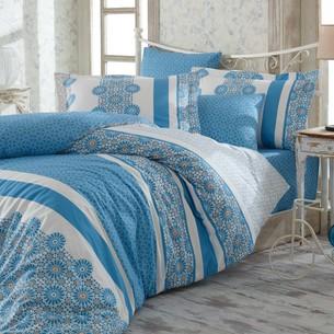 Постельное белье Hobby Home Collection LISA хлопковый поплин синий семейный