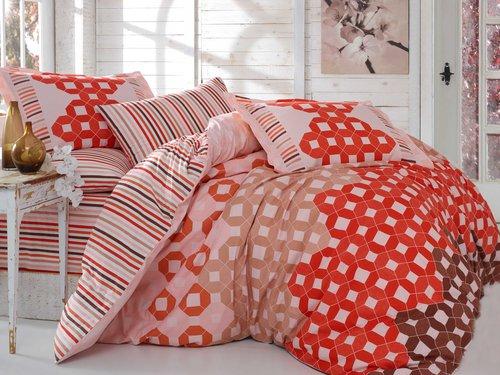 Постельное белье Hobby Home Collection MARSELLA хлопковый поплин красный 1,5 спальный, фото, фотография