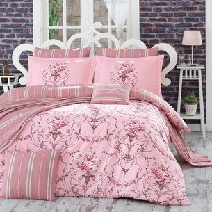 Постельное белье Hobby Home Collection ORNELLA хлопковый поплин розовый 1,5 спальный