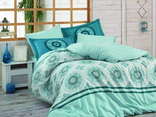 Постельное белье Hobby Home Collection SILVANA хлопковый поплин синий 1,5 спальный, фото, фотография