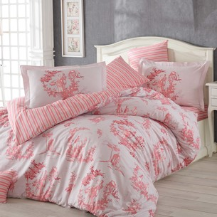 Постельное белье Hobby Home Collection VANESSA хлопковый поплин розовый семейный