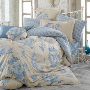 Постельное белье Hobby Home Collection VANESSA хлопковый поплин синий семейный