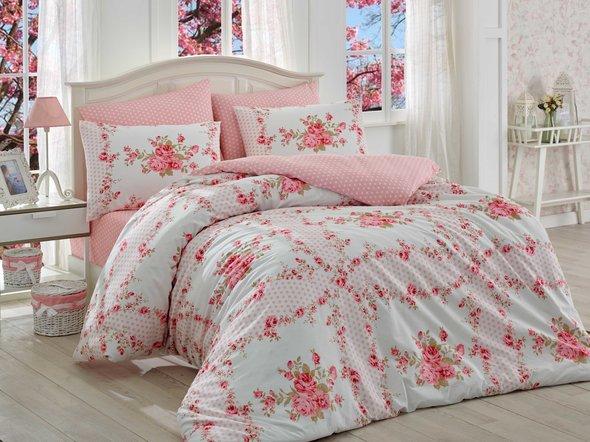 Комплект постельного белья Hobby GLORIA ранфорс розовый 1,5 спальный, фото, фотография
