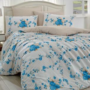 Постельное белье Hobby Home Collection GLORIA хлопковый ранфорс синий 1,5 спальный