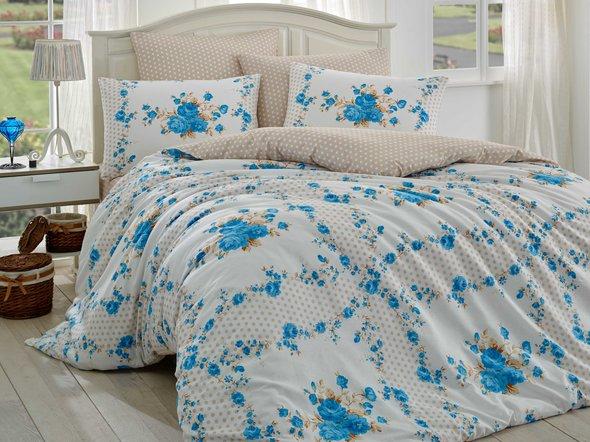 Комплект постельного белья Hobby GLORIA ранфорс синий 1,5 спальный, фото, фотография