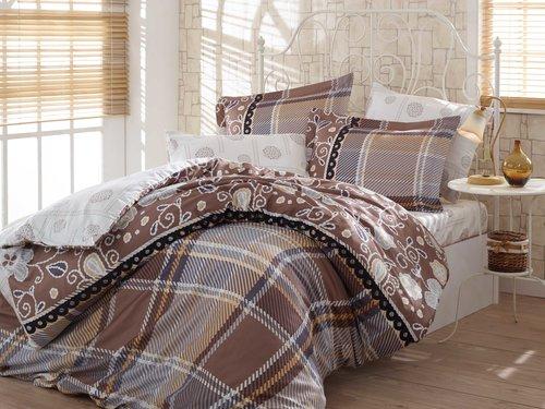 Постельное белье Hobby Hobby Collection MONICA хлопковый сатин коричневый 1,5 спальный, фото, фотография