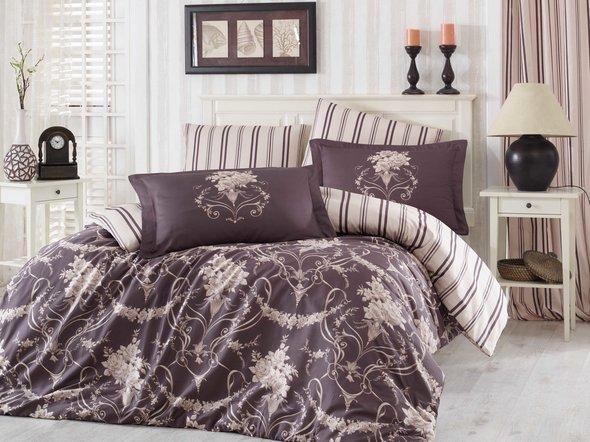 Комплект постельного белья Hobby ORNELLA сатин бежевый евро, фото, фотография