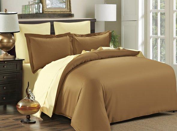 Комплект постельного белья Modalin SANFORD сатин хлопок (кофейный+кремовый) семейный, фото, фотография