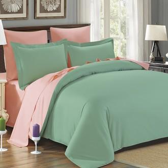 Комплект постельного белья Modalin SANFORD зелёный+абрикосовый