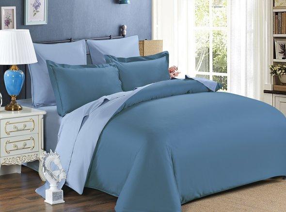 Комплект постельного белья Modalin SANFORD сатин хлопок (саксен+голубой) семейный, фото, фотография