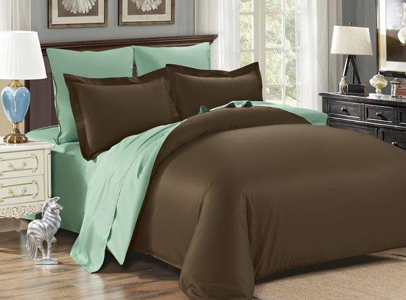 Комплект постельного белья Modalin SANFORD сатин хлопок (коричневый+зелёный) семейный, фото, фотография