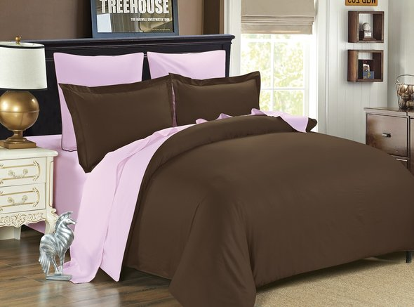 Комплект постельного белья Modalin SANFORD сатин хлопок (коричневый+пудра) семейный, фото, фотография