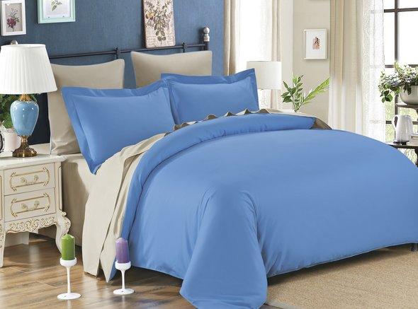 Постельное белье Modalin SANFORD сатин хлопок (голубой+бежевый) семейный, фото, фотография