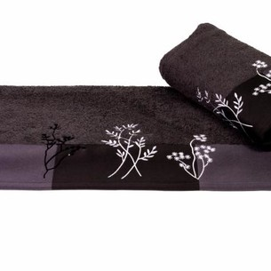 Полотенце Hobby FLORA тёмно-серое 70х140