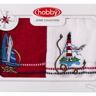 Набор полотенец в подарочной упаковке Hobby MARINA белый-красный