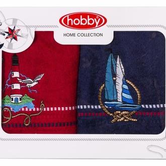 Набор полотенец в подарочной упаковке Hobby MARINA красный-синий