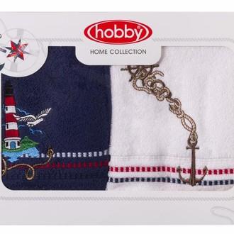 Набор полотенец в подарочной упаковке Hobby MARINA синий-белый