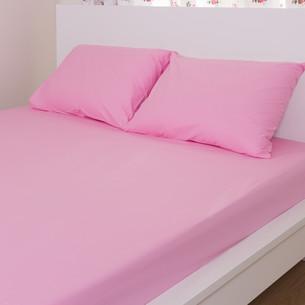 Простынь на резинке с наволочками Hobby розовый 160х200+30