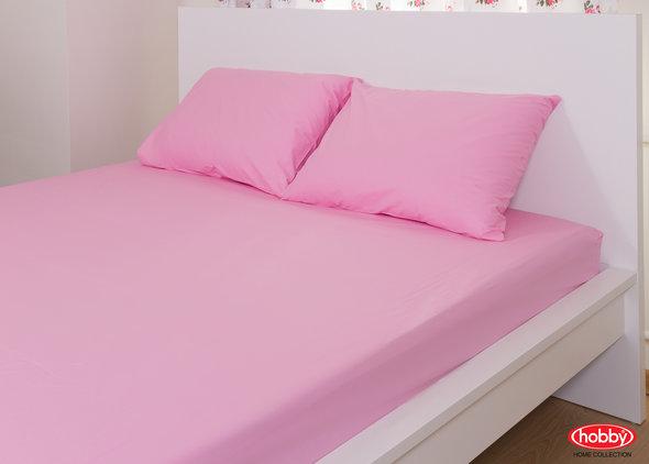 Простынь на резинке с наволочками Hobby розовый 160*200+30, фото, фотография