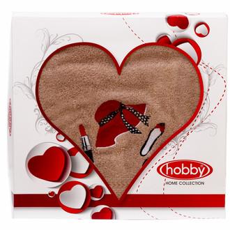 Полотенце для ванной в подарочной упаковке Hobby Home Collection LOVE хлопковая махра бежевый