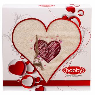 Полотенце для ванной в подарочной упаковке Hobby Home Collection LOVE хлопковая махра кремовый