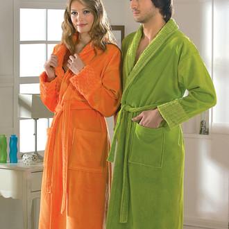 Халат женский Hobby Home Collection ANGORA хлопковая махра оранжевый M