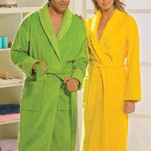 Халат мужской Hobby Home Collection ANGORA хлопковая махра зелёный XL