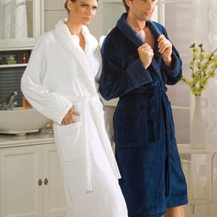 Халат мужской Hobby Home Collection ANGORA хлопковая махра синий XL