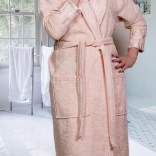 Халат женский Hobby Home Collection ELIZA бамбуково-хлопковая махра персиковый L