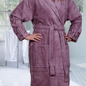 Халат женский Hobby Home Collection ELIZA бамбуково-хлопковая махра тёмно-фиолетовый