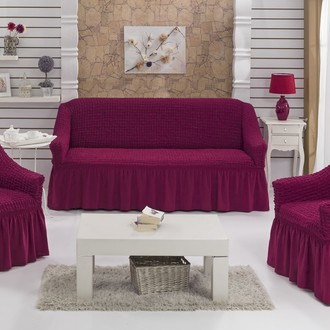 Набор чехлов на трёхместный диван и кресла 2 шт. Bulsan BURUMCUK фуксия