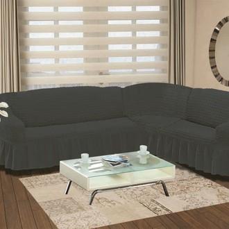 Чехол на диван угловой правосторонний 2+3 Bulsan тёмно-серый