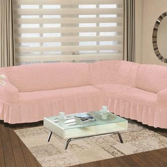 Чехол на диван угловой правосторонний 2+3 Bulsan светло-розовый