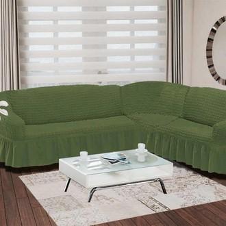 Чехол на диван угловой правосторонний 2+3 Bulsan зелёный