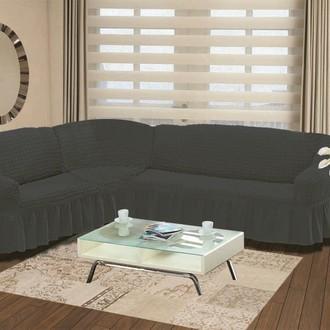 Чехол на диван угловой левосторонний 2+3 Bulsan тёмно-серый
