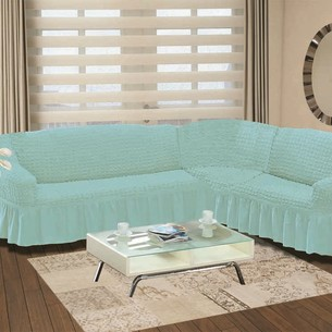 Чехол на диван угловой левосторонний 2+3 Bulsan бирюзовый