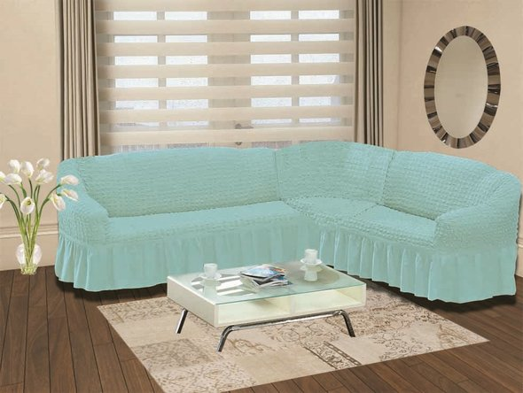 Чехол на диван угловой левосторонний 2+3 Bulsan бирюзовый, фото, фотография