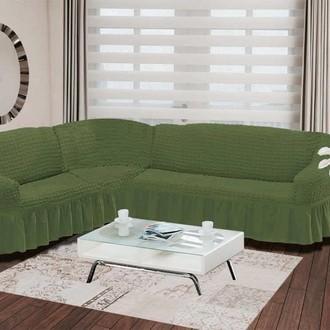 Чехол на диван угловой левосторонний 2+3 Bulsan зелёный