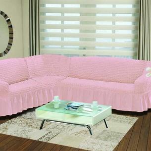 Чехол на диван угловой левосторонний 2+3 Bulsan светло-розовый