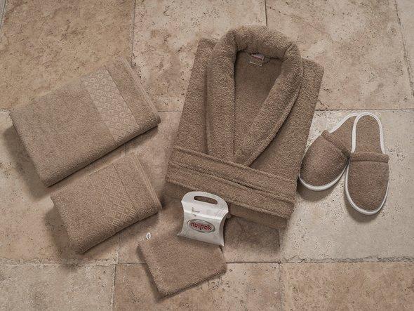 Набор махровый Nurpak PITIRCIK коричневый, фото, фотография