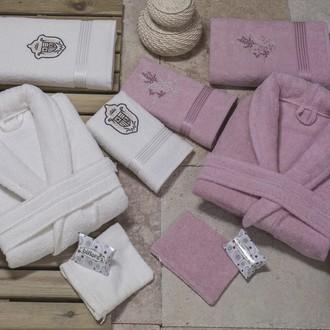 Набор халатов с полотенцами Nurpak BIOFLORES кремовый+грязно-розовый