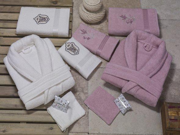 Набор халатов с полотенцами Nurpak BIOFLORES кремовый+грязно-розовый 48-52, фото, фотография