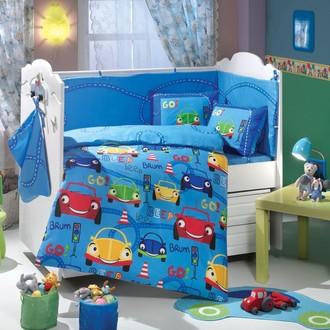 Набор в детскую кроватку для новорожденных Hobby CARS синий