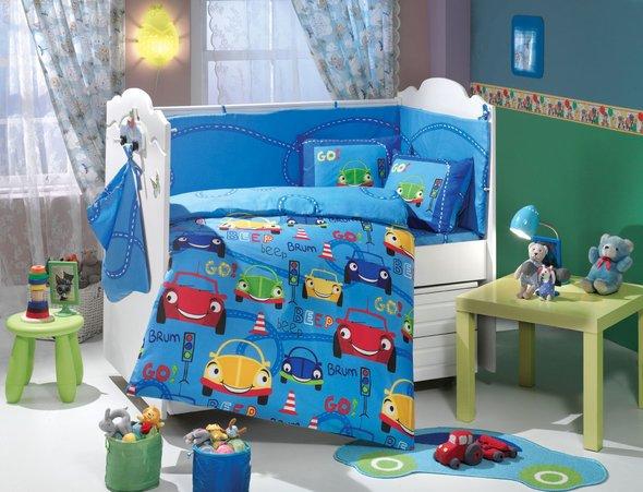 Набор в детскую кроватку для новорожденных Hobby CARS синий ясли, фото, фотография