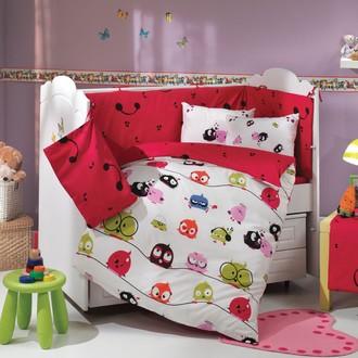 Набор в детскую кроватку для новорожденных Hobby CRAZY BIRDS фуксия